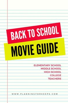 Get in the back to school mood! This list of movies contains films set in elementary school, middle school, high school, and college. There are even a few films featuring teachers! With the school year just around the corner start getting pumped now. Back To School Movie, Back To School Shopping, Going Back To School, First Day Of School, Middle School, Akeelah And The Bee, Easy Movies, Activities For Boys, Indoor Activities