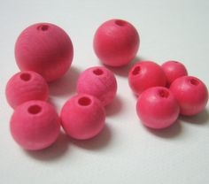 Pink Hand Dyed Wood Beads, Jewelry Supplies, General Crafts by InspireInMotion on Etsy