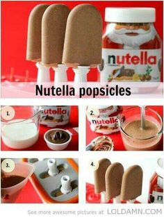 Funny pictures about Tasty Nutella Popsicles. Oh, and cool pics about Tasty Nutella Popsicles. Also, Tasty Nutella Popsicles photos. Köstliche Desserts, Frozen Desserts, Delicious Desserts, Dessert Recipes, Yummy Food, Diy Nutella, Nutella Frosting, Nutella Chocolate, Nutella Cookies