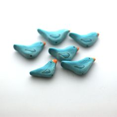 Bird Beads Turquoise Blue Bird Polymer Clay Beads 6 by tooaquarius