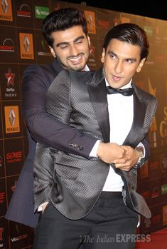 Bromance between Gundays' Arjun Kapoor and Ranveer Singh continues at the Star Guild Awards 2014. #Style #Bollywood #Fashion #Handsome