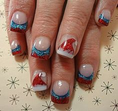 Christmas nails, I would replace blue with green