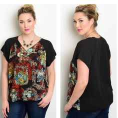 "Just in!! Black Floral top Limited quantities! 15% off bundles. Armpit to armpit measurement flat: 25"" Tops Blouses"