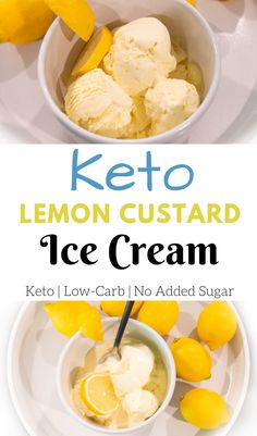 Keto Lemon Custard Ice Cream Recipe - - This keto lemon custard ice cream is smooth, creamy, and very low in carbs. It free of any added sugars to keep your body in ketosis. Sugar Free Ice Cream, Low Carb Ice Cream, Fat Free Ice Cream Recipe, Keto Friendly Ice Cream, Keto Friendly Desserts, Sugar Free Desserts, Low Carb Desserts, Lemon Custard Ice Cream, Keto Eis