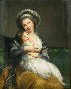 Self-portrait in a Turban with Julie, Oil by Louise Elisabeth Vigée Le Brun (1755-1842, France)