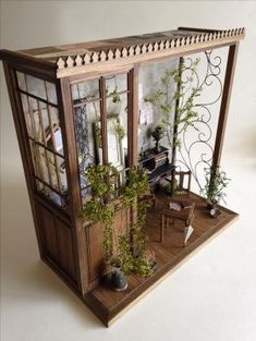 by gabriela – Home Design Inspiration – DIY Garten Box Vitrine Miniature, Miniature Rooms, Miniature Crafts, Miniature Houses, Miniature Furniture, Dollhouse Furniture, Miniature Kitchen, Diy Dollhouse, Dollhouse Miniatures