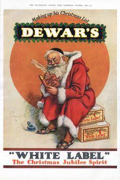 1935 DEWAR'S White Label Christmas Ad SANTA CLAUS Scotch Whisky by phorgotten