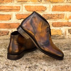 Patina Style, Fashion Boots, Mens Fashion, Mens Attire, Goodyear Welt, Calf Leather, Red Leather, Luxury Shoes, Custom Shoes