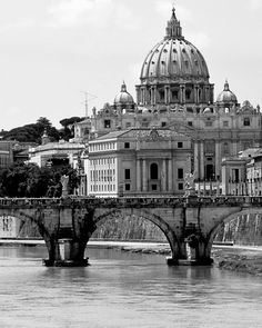 Rome Italy Photography - St. Peters Cathedral Photo - Black and White Photography - Italian Architecture - Roman Bridge - Rome Print Office
