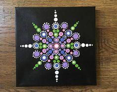 Items similar to Original Mandala Dot painting, hand made by Anna Kep, wall art decor for home. Mandala Painted Rocks, Painted Rocks Craft, Mandala Rocks, Mandala Canvas, Mandala Artwork, Mandala Painting, Dot Art Painting, Stone Painting, Mandala Pattern