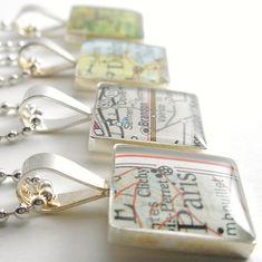 You Choose Vintage Map Necklace by DLK Designs