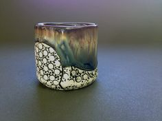 Sake Cup Shot Glass in Slate Glaze Hand built Ceramic by Dawn Atkin.  Available at Lithology.