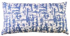 Graphiti Woven decorative  lumbar style pillow, in Delphinium Blue, 13 x 25
