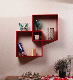 Dream Arts Twin Square Red Wall Shelf by Dream Arts Online - Wall Shelves - Home Decor - Pepperfry Product