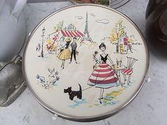 Vintage Tortenplatten - vintage Tortenplatte PARIS mit Fuß mid century - ein Designerstück von artdecoundso bei DaWanda