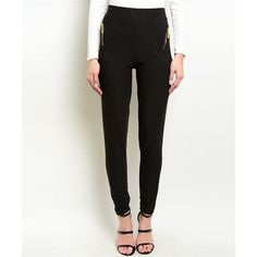 Women's Pants Skinny Black Zippered