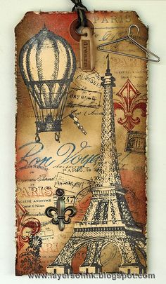 Layers of ink: 12 tags of 2013 August. Paris tag, made with Stampers Anonymous Tim Holtz stamps, Ranger inks and a Sizzix die.