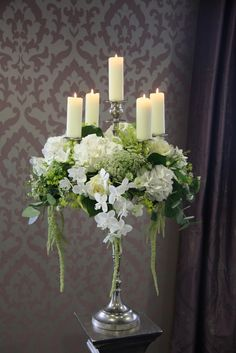 Elegant Silver Grey & Ivory Wedding Day of Chris & Rebecca Rushworth at Ribby Hall Candelabra Flowers, Candelabra Centerpiece, Table Flowers, Floral Centerpieces, Wedding Centerpieces, Wedding Table, Wedding Decorations, Table Decorations, Wedding Ideas