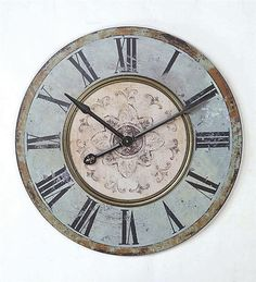"""Chic Weathered Blue Vintage Round Wall Clock Antique Shabby Home Décor 29"""" Art #FrenchCountry"""
