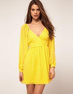 vestido mujer asos amarillo.