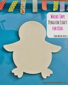 Washi Tape Penguin Craft for Kids by FSPDT ~ fun for ages 2-5yr ~ great for fine motor skills ~ process art project