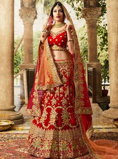 Surbhi Chandna Red Silk Bridal A Line Lehenga Choli 117598