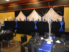 Tuxedo backdrop for head table w/royal blue accents