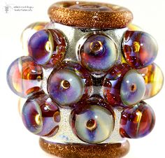 Lampwork Bead - Silver  and gold Palace Barrel, new!