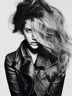 messy hair. mood. attitude. maybe cover the side of my face a little less. pose. leather jacket.