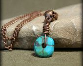 Turquoise Necklace - Chain Necklace - Tribal Necklace - Beaded Necklace - Southwest Jewelry - Copper Necklace - Dainty Necklace