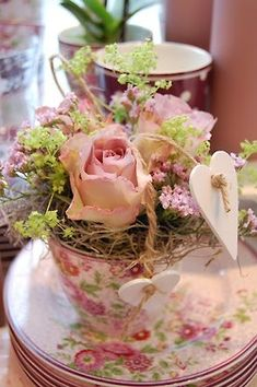 Ana Rosa rose in teacup with moss Vibeke Design, Rose Cottage, Cottage Chic, Cottage Style, My Cup Of Tea, Everything Pink, High Tea, Shabby Chic Decor, A Table