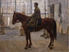 Academic painting of a mounted soldier by Leonid Steele