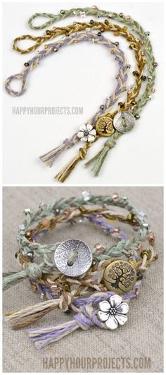 DIY Braided Bead Bracelet Tutorial from Happy Hour Projects.Bracelet DIYs from Happy Hour Projects are some of my favorite jewelry DIYs. This is a pretty simple DIY because all you need to know is how to make a 3 strand braid. I also like the decorative button that doubles as a the closure. For hundreds of DIY bracelets go here: truebluemeandyou.tumblr.com/tagged/bracelet