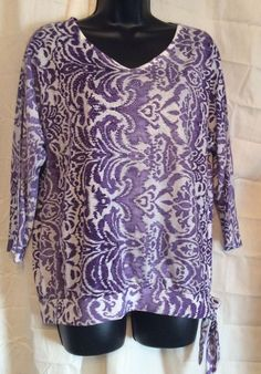 Chicos 1 Pullover Blouse 3/4 Sleeve Purple And White Embellished  #Chicos #Blouse #Casual