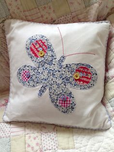 Red white and blue butterfly cushion