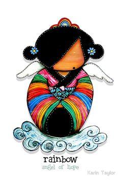 Rainbow Angel of Hope prints and cards by Karin Taylor Geisha, Karen Taylor, Lulu Love, Mermaid Fairy, Invisible Illness, Angel Art, Kawaii, Faeries, Asian Art