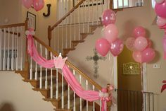 Stair decorations I think I would like this with tulle or net fabric, and maybe a strand of lights