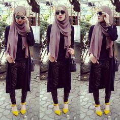 Shawl + black top + black long cardi + leopard pants from Zara + sling bag + mustard shoes