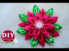 Красивый Цветок Своими Руками. КАНЗАШИ из Лент./DIY /KANZASHI / Make Hair Bow /Tutorial / Flower./ - YouTube