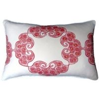 Hibiscus - Boho Red Pillow
