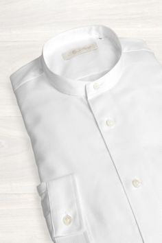 Mr. Start White Collarless Cotton Shirt