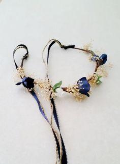 Blue little girl flower crowns dried silk floral Toddler headband halo mini hair wreath navy winter wedding bridal party accessories