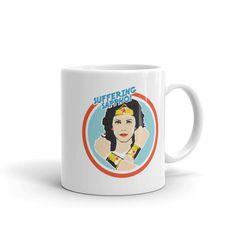 SUFFERING SAPPHO coffee cup, mug, Wonder Woman, gift for her, Lynda Carter, superhero, girl power, retro, throwback, coffee gift, birthday by SurlyBirdBoutique on Etsy
