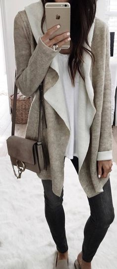 #winter #outfits beige warm coatee, white shirt, dark grey jeans