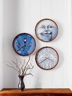 "Craft - Patterned Paper Clock - the moon clock great idea for a kid's room. ""Man in the Moon"" use scrapbook paper, patterned cardstock, wallpaper."