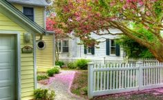 White picket fence -   Rainy Day, clouds, english cottage, fence, flowers, house, rain, road ...