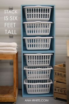 Laundry Organization (altered a little) -- Project Total $55.xx -- My Material List: 3) Laundry Baskets $4.99ea (97cent Store) 1) 15/32in x 4ft x 8ft Fir Sheathing Plywood      $16.27 (Lowes) 1) 1-3/8in x 1-3/8in x 12ft wood      $8.99 (Lowes) 1) Olympic Premium Interior Paint - 32oz      $10.87 (Lowes) ☑️