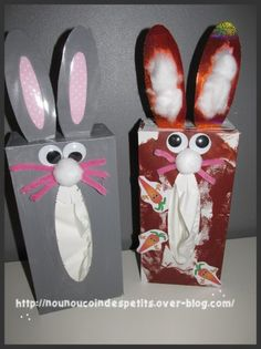 .. Lapin boite a mouchoir .. Child Teaching, Lenten, Easter Crafts, Easter Bunny, Blog, Animation, Cool Stuff, Disney Characters, Paper