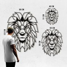 Metal Decoration Lion Our Lion metal decoration in different sizes available on the shop ! Worldwide delivery with Artwall and Co .Our Lion metal decoration in different sizes available on the shop ! Worldwide delivery with Artwall and Co . Geometric Lion, Geometric Drawing, Lion Origami, Lion Wall Art, School Murals, Wall Drawing, Decoration Design, Lion Tattoo, Wire Art