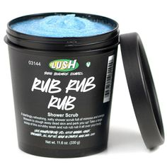 """Rub Rub Rub"" Shower Scrub from LUSH Cosmetics. Scrubby sea salt and mimosa shower wash. So thick it's put into a tub for handy scooping in the shower. A bright blue, supremely softening, exfoliating sea salt shower scrub to revive your skin. Sea salt is extra cleansing, mineral-rich and softening for the body; you can even use it as a shampoo in a pinch!"